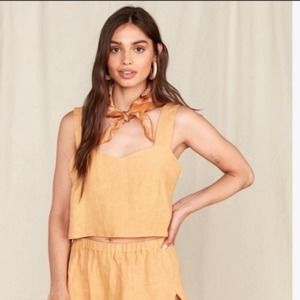 NWT Mate the label coco crop top linen ochre